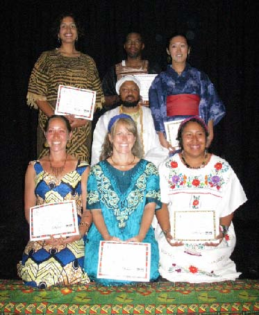 The eleventh generation of the M'TAM Schools. Clockwise from top left: Shepzi Nehesu, Hemau Nehesu, Temaikiu Nehesu, Sheritptah Nehesu, Nemaii Nehesu, Muiba Nehesu & Instructor Herpw Bikbaye Inejnema (center). The Nehesu generation joins a worldwide community who have committed themselves to upholding the rigid standards of the Kem, the entity that fits perfectly into the Divine Order.