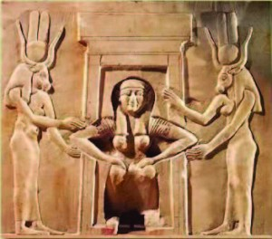 Kemetic Woman giving birth naturally