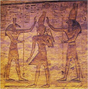 The Gods Seth (left) and Heru (right) engage in an eternal battle for the minds and hearts of humanity. Heru represents preservation of life, Seth represents destruction of life. Heru is humanity's model for good.