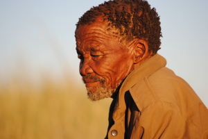 Oupa Dawid Kruiper, leader of the ‡Khomani San in their claim for land rights in the Kalahari Desert. Oupa Dawid passed away in 2012.