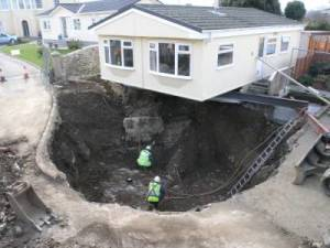 sink-hole caused by geothermal drilling