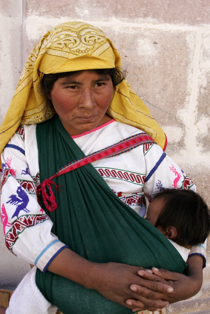 Wixarixa woman with baby
