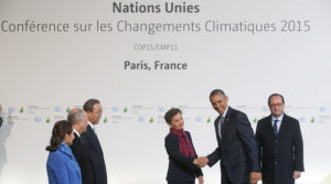 U.S. President Barack Obama (2nd R) is welcomed by French President Francois Hollande (R) and (L to R) French Ecology Minister Segolene Royal, French Foreign Affairs Minister Laurent Fabius, President-designate of COP21, United Nations Secretary General Ban Ki-moon and Christiana Figueres, Executive Secretary of the UN Framework Convention on Climate Change, as he arrives for the opening day of the World Climate Change Conference 2015 (COP21) at Le Bourget, near Paris, France, November 30, 2015. REUTERS/Christian Hartmann - RTX1WFXF