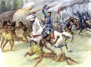 DE SOTO: ALABAMA, 1540. Hernando de Soto and members of his expedition in conflict with Native American warriors under Chief Tuscaloosa at the Battle of Mauvila (or Mabila) in present-day Alabama, October 1540. Illustration by Alfred Russell, 1904.