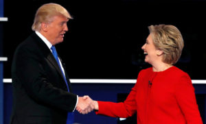 Trump Clinton shake hands
